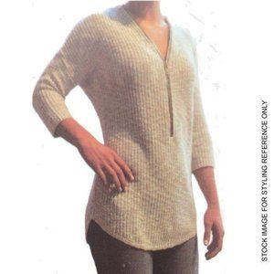 NWT ABS 2X Sweater Cotton Tan Chunky Open Knit 3/4